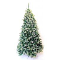 No Name - Sapin de Noël artificiel - Hauteur 220cm - Modèle canadien 1814 branches -givré, finition argent scintillant - Haut de gamme