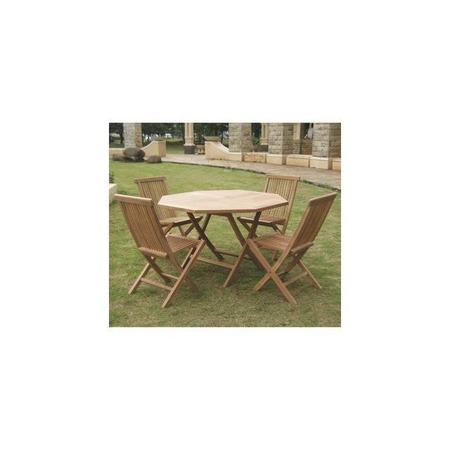 Delamaison - Salon Borneo Table octogonale D120 + 4 chaises pliantes ...