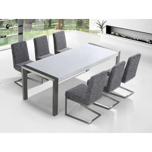 Beliani Table en acier inox 220 cm et 6 chaises - Arctic I