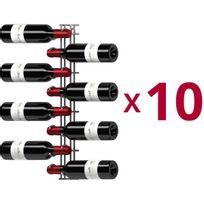 Visiorack - Lot de 10 supports muraux de 8 bouteilles de 75cl - Chrome Aci-vis600x10