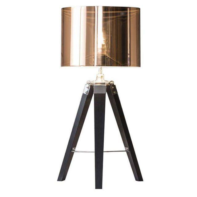 COMFORIUM Lampe de table design trépied en bois massif abat-jour en cuivre métallique