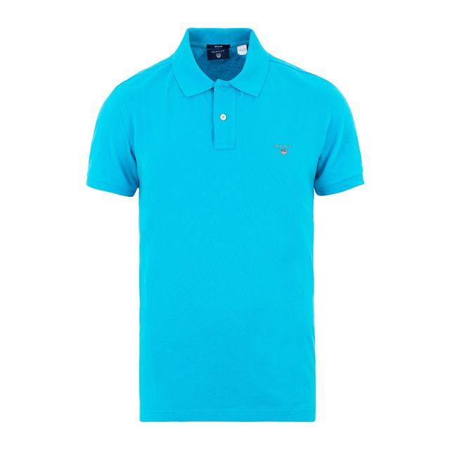 Gant - Polo bleu turquoise - pas cher Achat