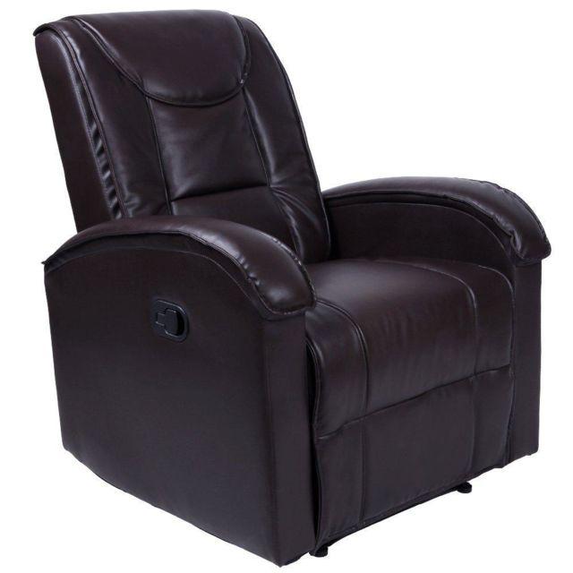 Helloshop26 Fauteuil de relaxation détente tv avec repose pied marron 1701001