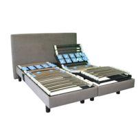 Confortissimo - Sommier relaxation Cassiopée , 15 cm 90 x 190 cm Microfibre gris