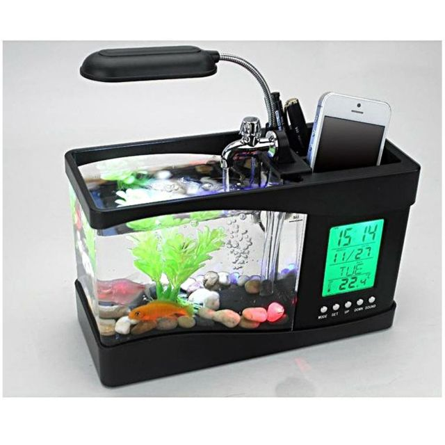 Mini Usb Desktop Aquarium Lcd Display Fish Tank Clock Led Lampe Light Black
