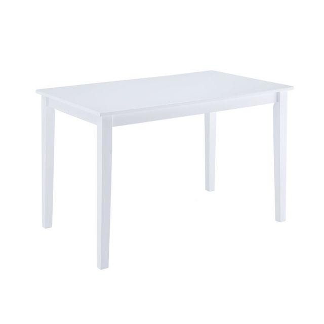 Les Essentiels By Dlm Table à manger en bois rectangulaire Longueur 120 cm Hemma - Blanc