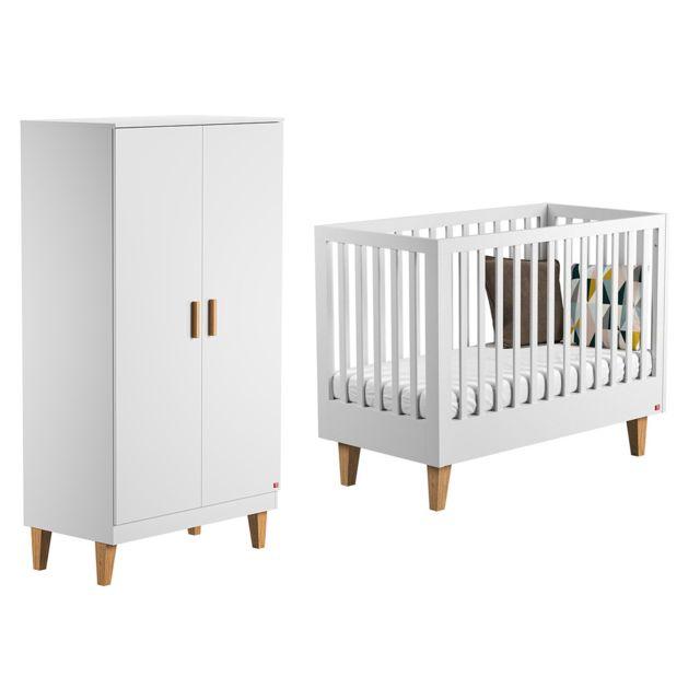 Vox Lit bébé 60x120 et Armoire 2 portes Lounge - Blanc