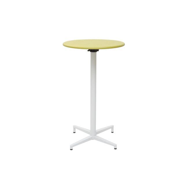 Miliboo Table haute pliante ronde en métal vert anis Dots