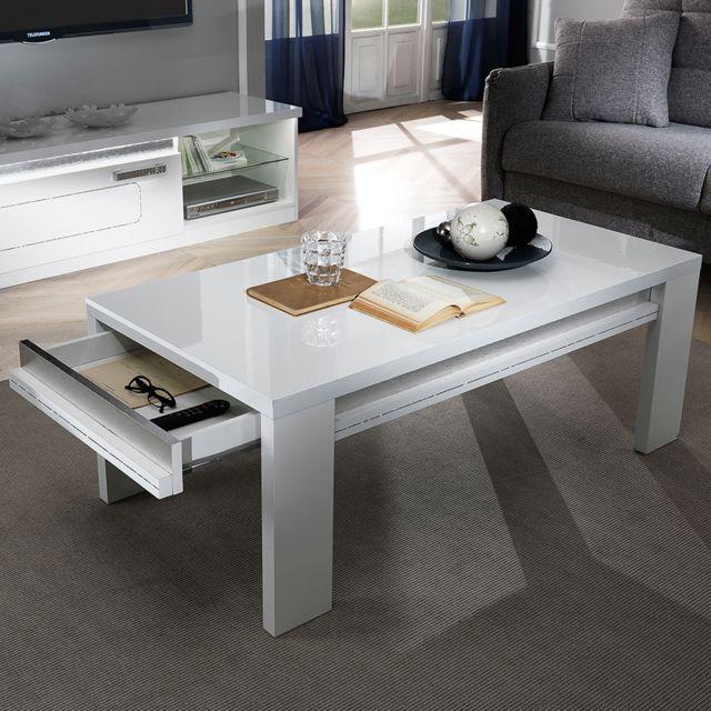 Nouvomeuble Table basse 120 cm blanche laqué design Nevahe