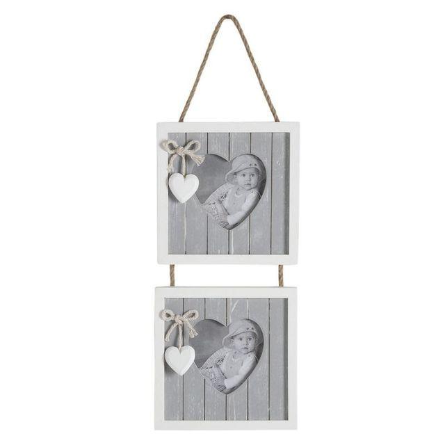Aubry Gaspard Cadre porte photos en bois a suspendre, motif Coeur, pour 2 photos