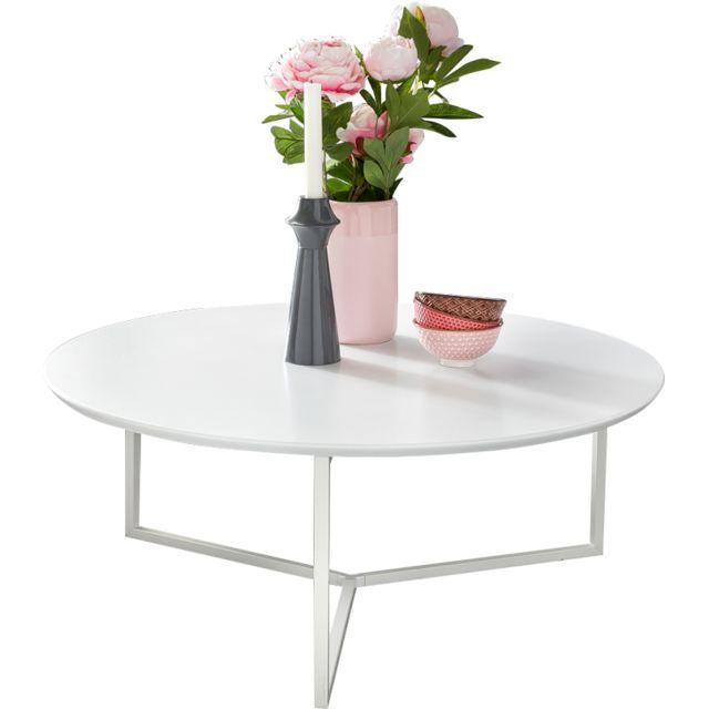 COMFORIUM Table basse 80 cm en MDF avec piétement métallique coloris blanc