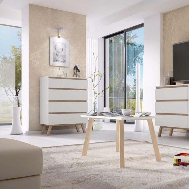 SELSEY Commode de salon / Commode scandinave - THOR - 60,2 cm - blanc / bois de hêtre huilé - 4 tiroirs pratiques - style scand