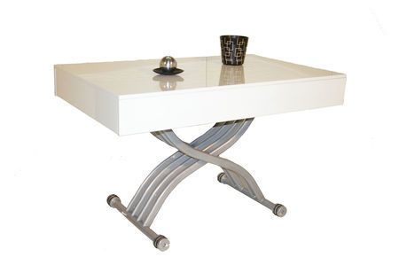Giovanni Table basse relevable Kubic laque blanc