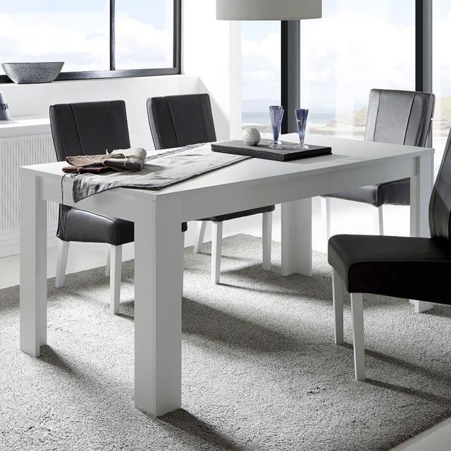 Sofamobili Table à manger blanc laqué mat design Burton - Sans rallonge