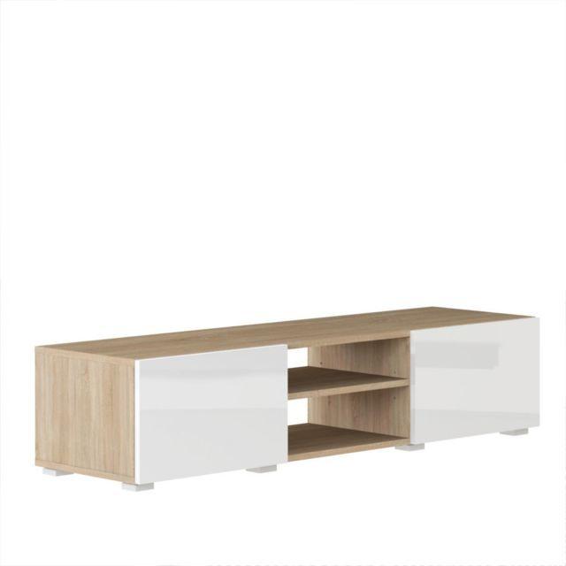 Inside 75 Atlantic Meuble tv structure chêne Bardolino et portes laquées blanc brillant moyen modèle