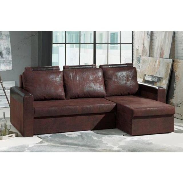 inside 75 canap d 39 angle convertible rapido himalia 130cm en microfibre vintage marron 100cm x. Black Bedroom Furniture Sets. Home Design Ideas