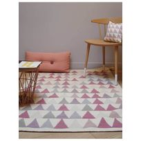 ART FOR KIDS - Tapis KILIM TRIANGLES rose Tapis Enfants 110 x 160 cm rose 110 x 160 cm