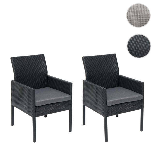 Mendler 2x Fauteuil de jardin en polyrotin Hwc-g12 ~ noir, coussin gris foncé, version standard