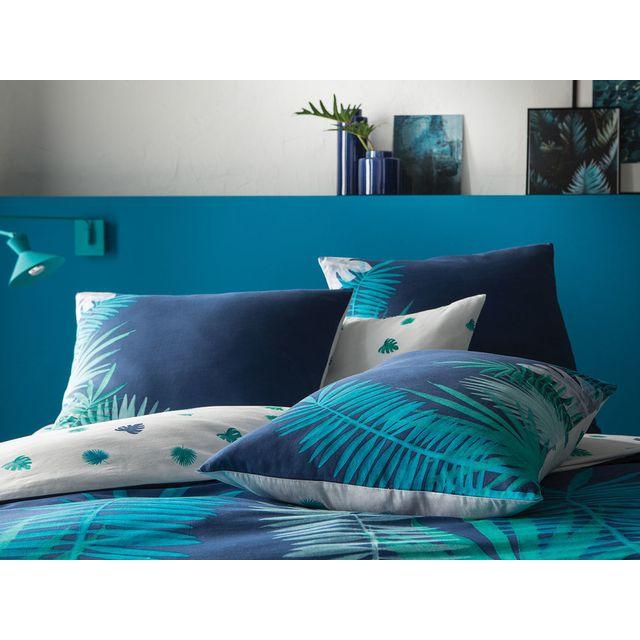 Matt&ROSE - Taie d'oreiller réversible 100% coton feuille palmier tropical bleu/vert Nuit Tropicale - 65X65cmNC 65cm  x 65cm