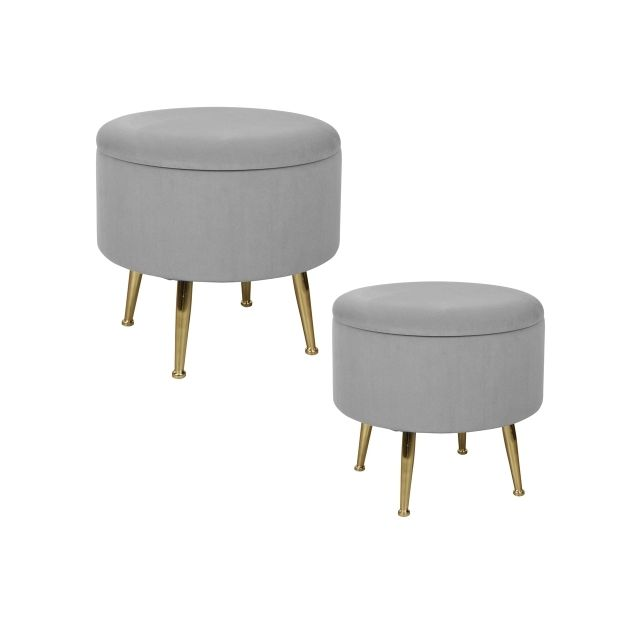 TABLE PASSION Set de 2 poufs gris sur pieds Bibum 40 et 45 cm