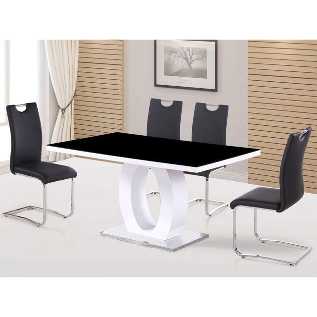HABITAT ET JARDIN Table repas rectangulaire Lidia - 160 x 90 x 76 cm - Noir