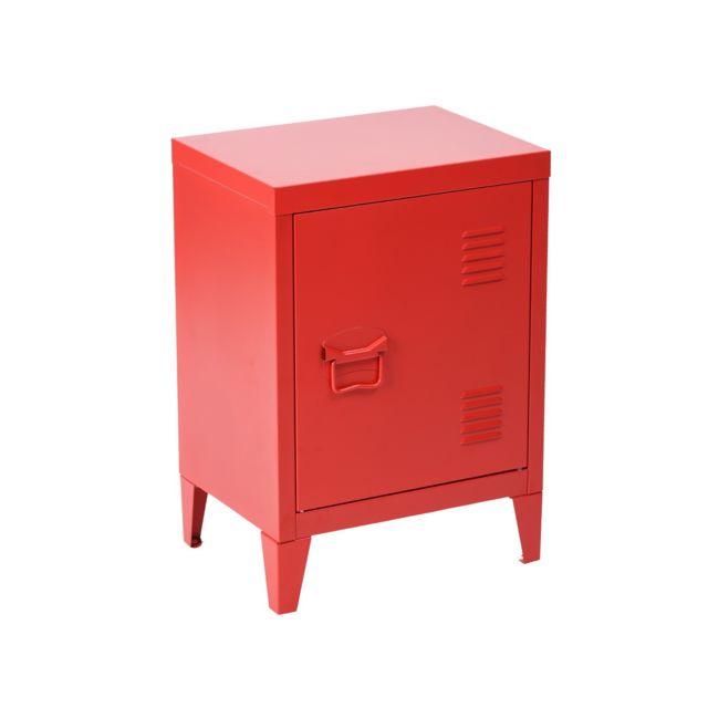 Meuble bas casier metal vintage rouge