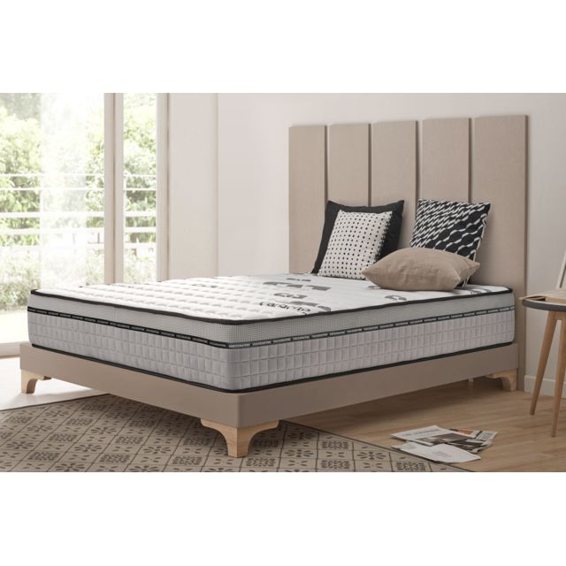 NATURALEX Matelas VISCO CARBONE 150x190 cm à mémoire de forme Bio Memory® - Viscotex® - Confort tonique – 7 zones – 25 cm - Ferme