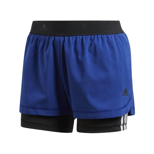 Adidas - Short 2 en 1 femme 3S bleu marine noir - pas cher Achat   Vente  Pantalons 81f723a0029