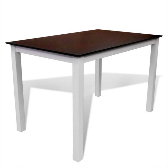 Vidaxl Table à manger marron/blanc 110 cm en bois massif
