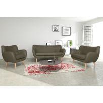 Modern Sofa - Canapé Adele 3+2+1 Pu soft 24 taupe avec pieds naturels sofa divan
