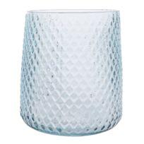 Kaemingk - Photophore en verre transparent bleu motif losanges en relief Let It Snow