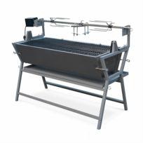 ALICE'S GARDEN - Rôtissoire électrique inclinable Mathurin inox, tournebroche, barbecue au charbon de bois à moteur pour grillades réceptions