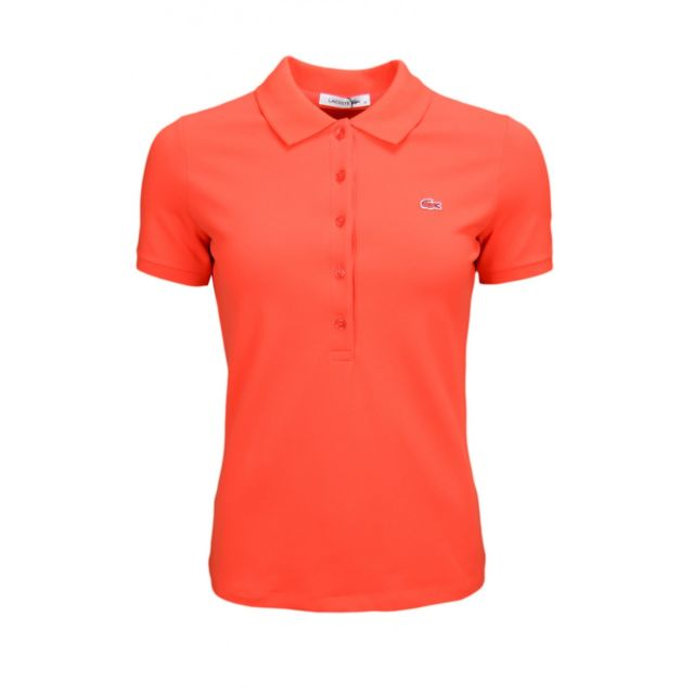 97b9edd116 Lacoste - Polo basique 5 boutons rouge pour femme - pas cher Achat / Vente  Polo femme - RueDuCommerce