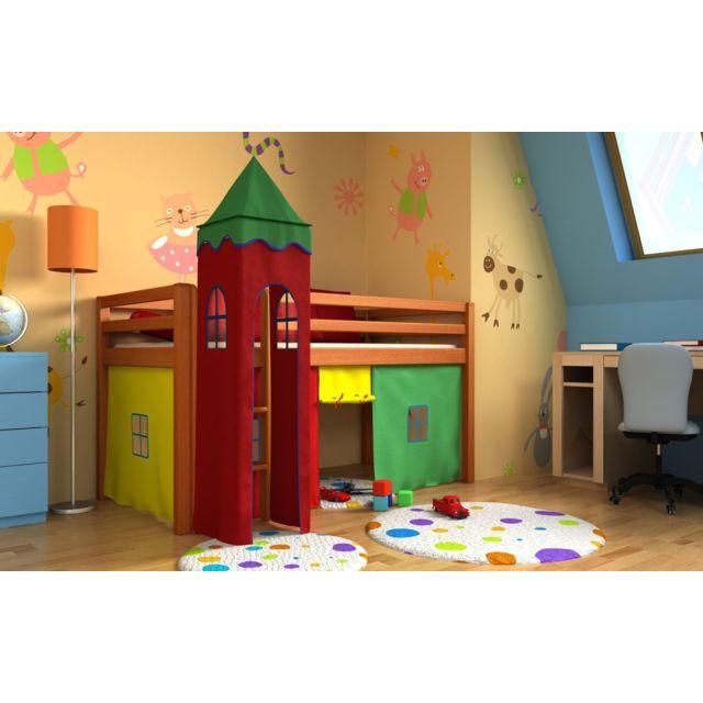 Mpc lit enfant aulne avec tour sommier matelas et rideau for Luminaire chambre enfant avec matelas babychou