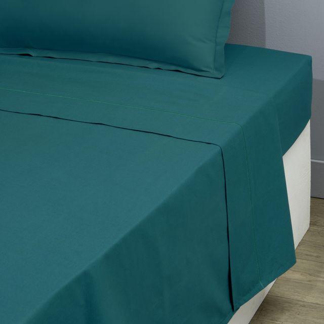 tex home drap plat en percale de coton durable vert fonc 180cm x 300cm pas cher achat. Black Bedroom Furniture Sets. Home Design Ideas