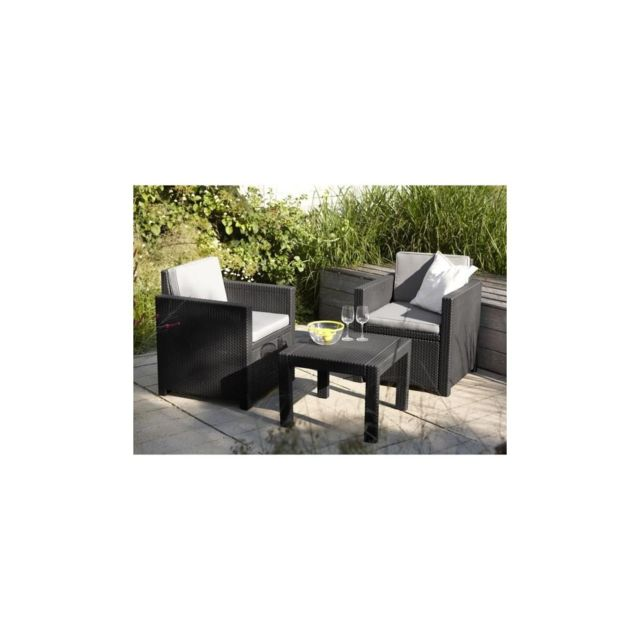 Allibert Salon de jardin Victoria 2 places imitation resine tressee - Gris