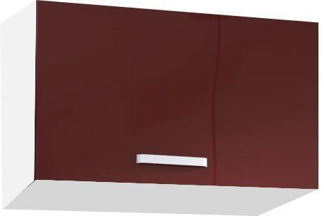 Comforium Meuble haut de cuisine design 60 cm pour hotte avec 1 porte horizontale coloris blanc mat et rouge laqué