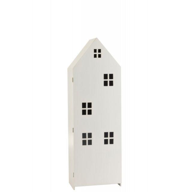 J-line Armoire Maison Haute Avec Porte Mdf/Contreplaqué Blanc