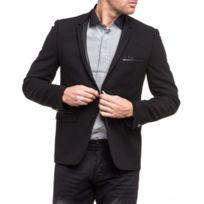 Cent's - Veste de costume noir col finition cuir