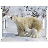 Feel & Co - Plateau Réversible 55x41 Cm Décor Animaux - Ours Blanc