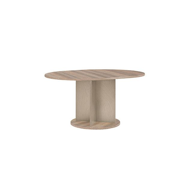 Table ronde 113cm + allonge naturel - Honorine