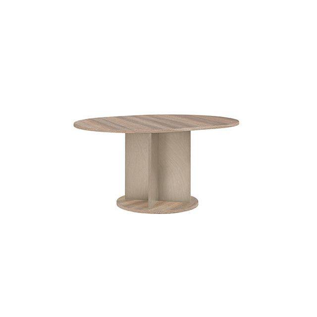 Table ronde 113cm + allonge naturel - Honorine
