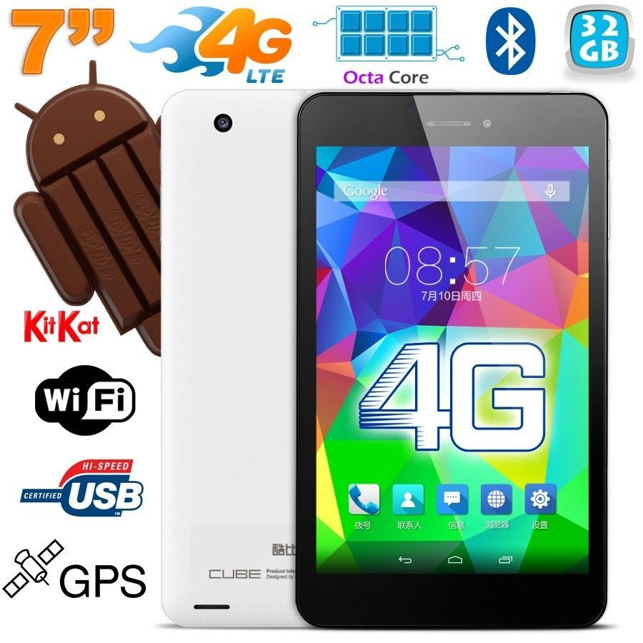 Tablette tactile 4G Android 4.4.4 Octa Core 7 pouces 32 Go Blanc