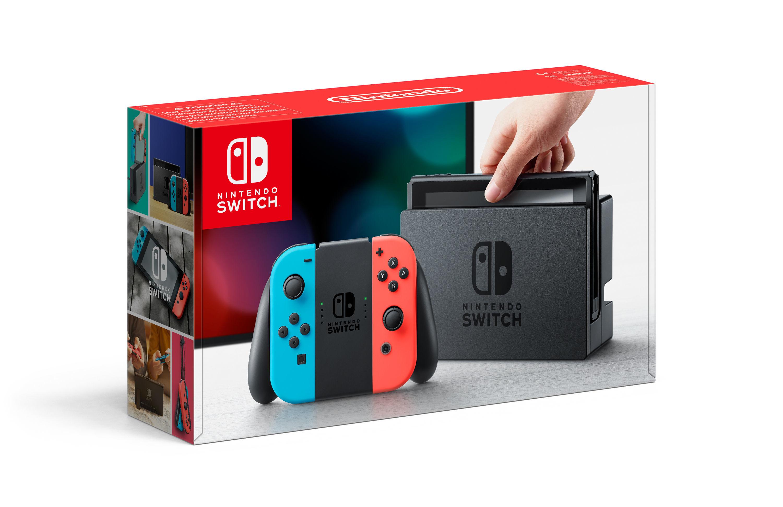 Console Switch avec un Joy-Con rouge néon et un Joy-Con bleu néon