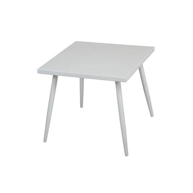 Kaligrafik Table basse carrée en aluminium gris 50x50 cm