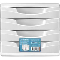 CARREFOUR - Bloc de rangement - 4 tiroirs - Blanc