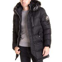 3f2e2d7ad313 BLZ Jeans - Manteau long fashion à capuche fausse fourrure noir amovible