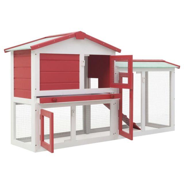 Icaverne Abris et cages pour petits animaux collection Clapier large d'extérieur Rouge et blanc 145x45x85 cm Bois