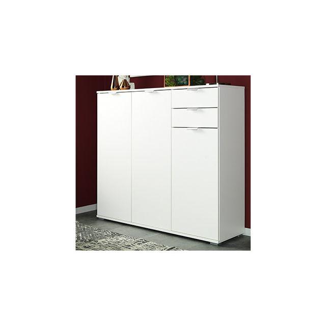 Commode 3 portes 3 tiroirs 107x101x35cm blanc