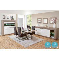comforium ensemble salle manger complte coloris chne gris et blanc laqu avec vitrine claire